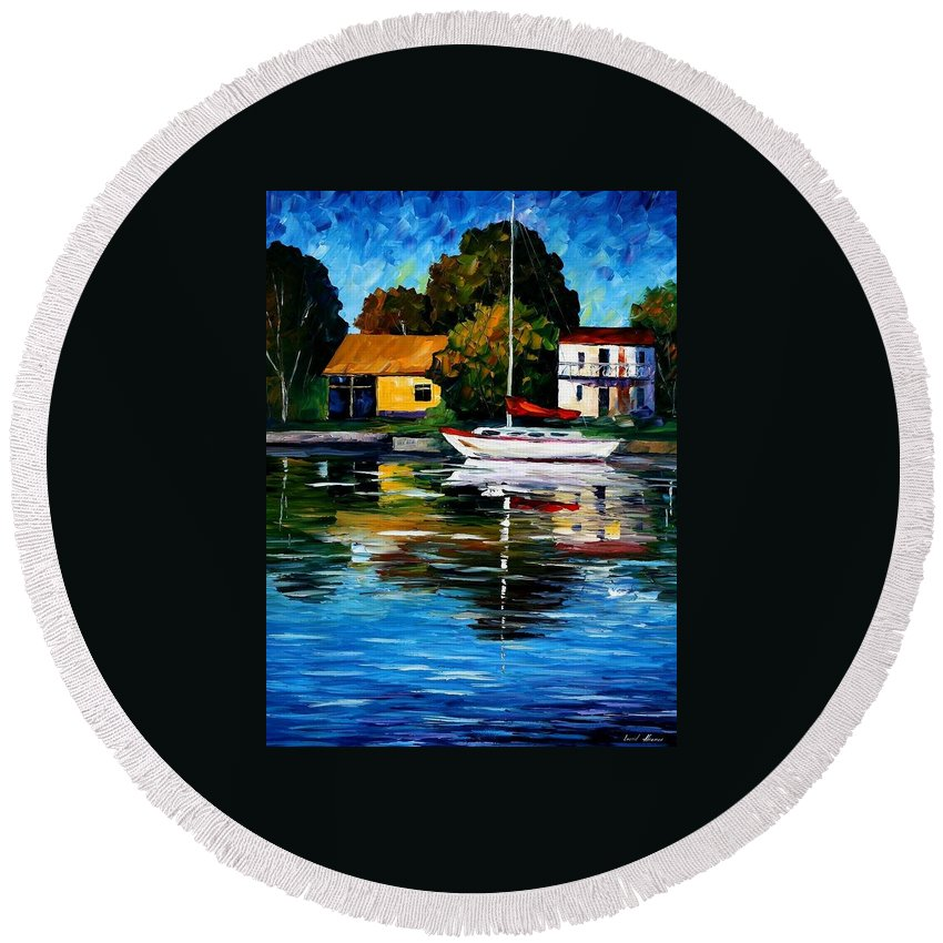 Afremov Round Beach Towel featuring the painting Fort Lauderdale - Florida by Leonid Afremov
