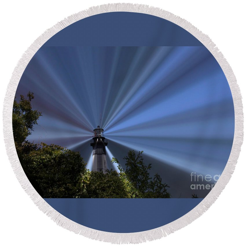 Lighthouse Round Beach Towel featuring the photograph Fort Story Lighthouse by Carol Turner