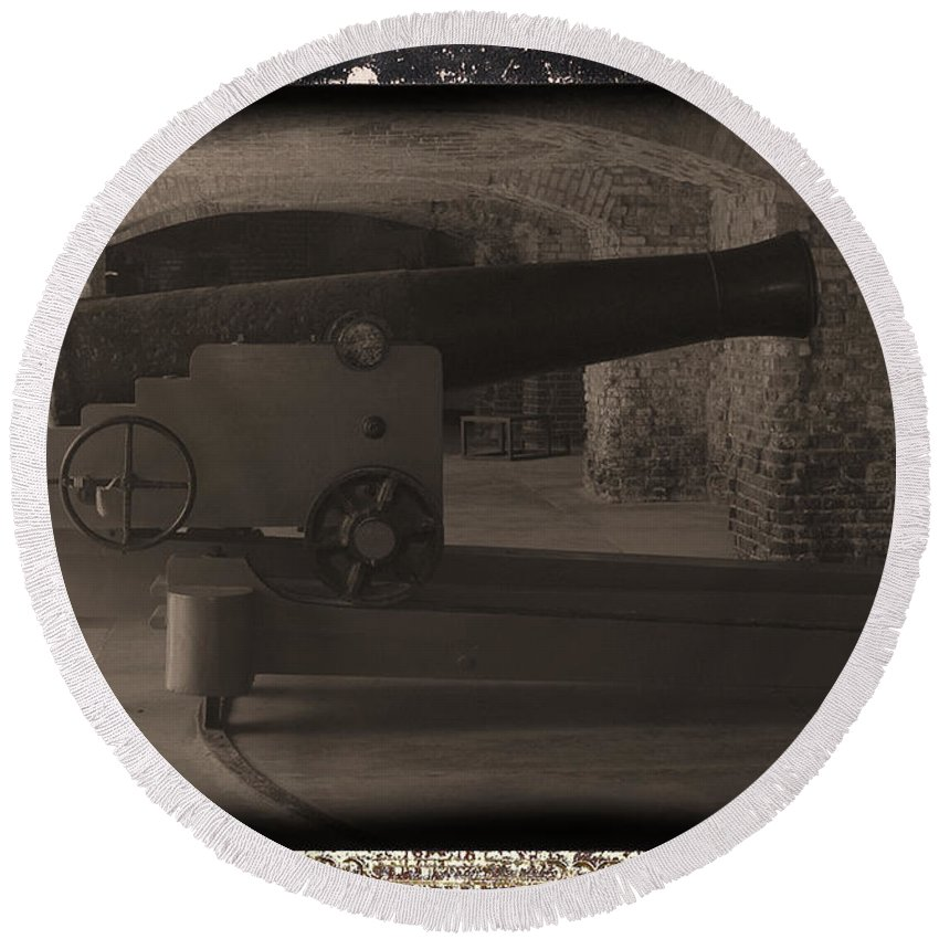 Fort Sumpter Round Beach Towel featuring the photograph Fort Sumpter Cannon by Tommy Anderson