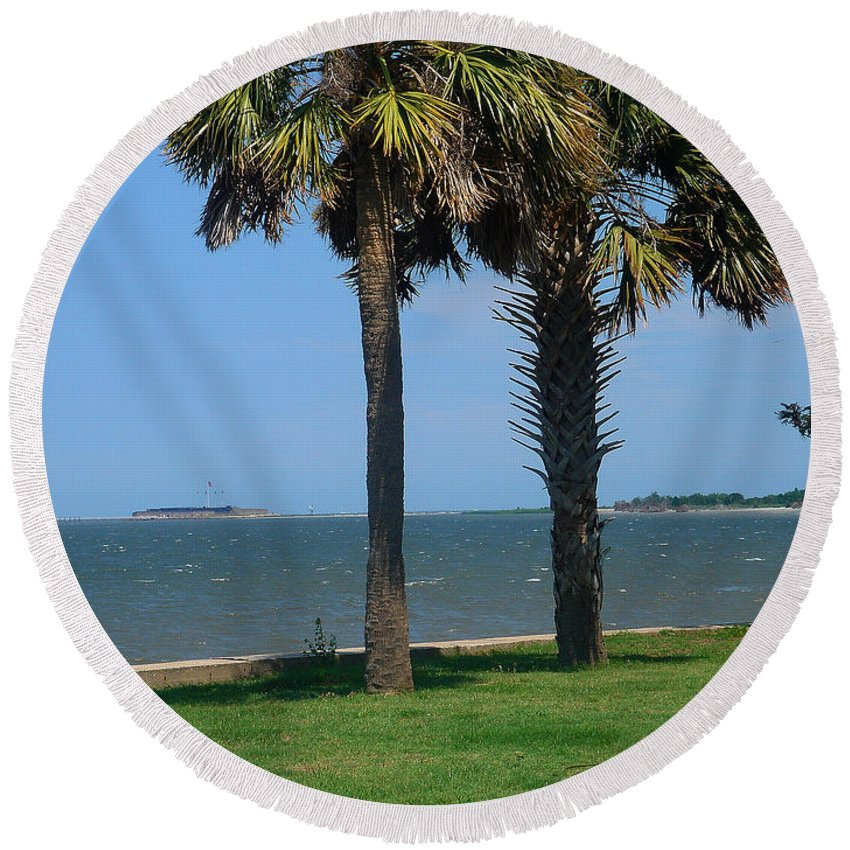 Photography Round Beach Towel featuring the photograph Fort Sumter Charleston Sc by Susanne Van Hulst