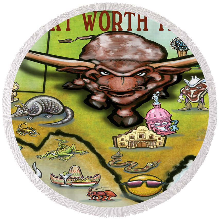 Fort Worth Round Beach Towel featuring the greeting card Fort Worth Texas Cartoon Map by Kevin Middleton
