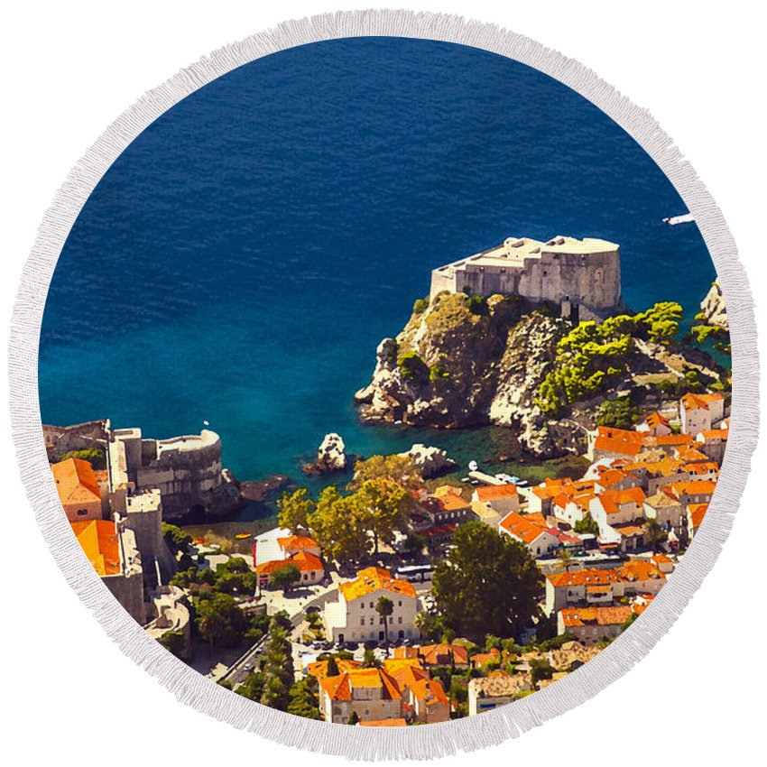 Adriatic Round Beach Towel featuring the photograph Fortress Of Dubrovnik From Above by Sandra Rugina