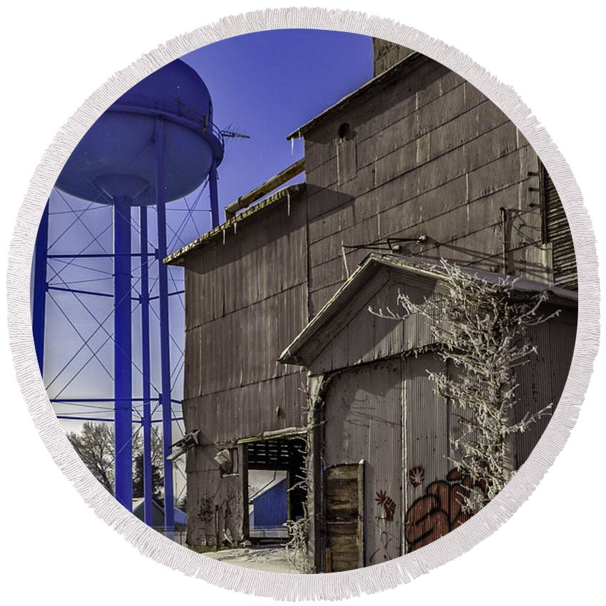 Water Tower Round Beach Towel featuring the photograph Fortville Winter by Joseph Yvon Cote