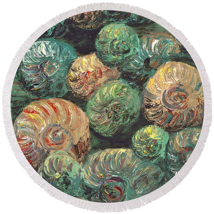 Shells Round Beach Towel featuring the mixed media Fossil Shells by Nadine Rippelmeyer