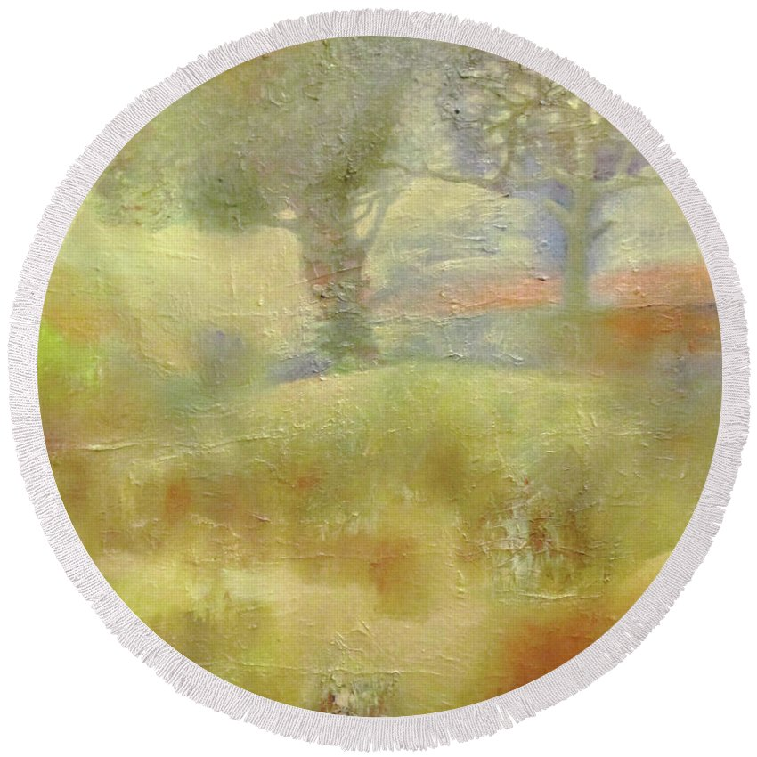 Landscape Round Beach Towel featuring the painting Fouette by Alexander Nam