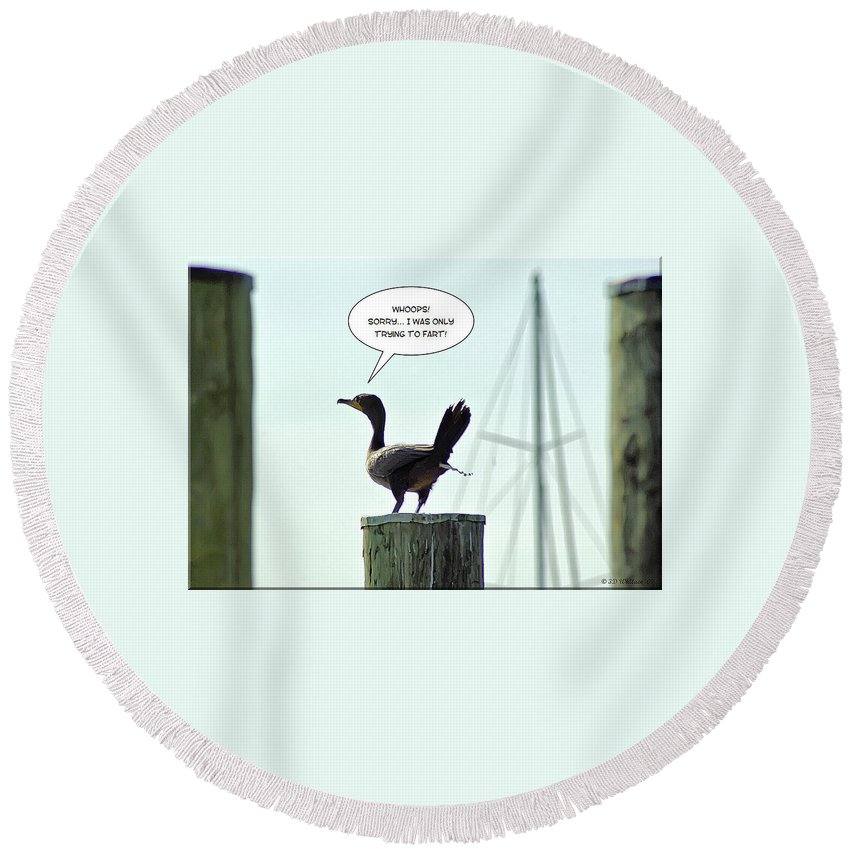 2d Round Beach Towel featuring the photograph Foul Fowl by Brian Wallace