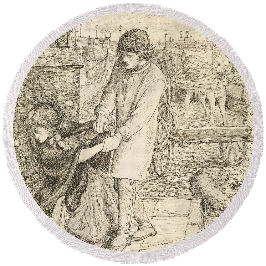 Dante Gabriel Rossetti Round Beach Towel featuring the drawing Found - Compositional Study by Dante Gabriel Rossetti