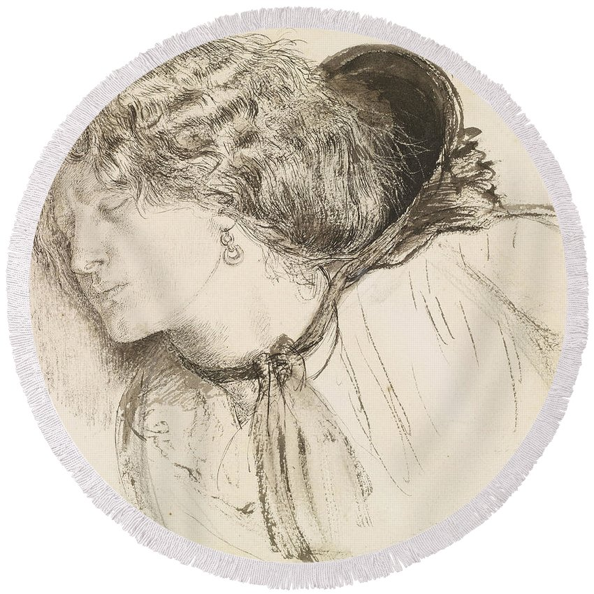 Dante Gabriel Rossetti Round Beach Towel featuring the drawing Found - Study For The Head Of The Girl by Dante Gabriel Rossetti
