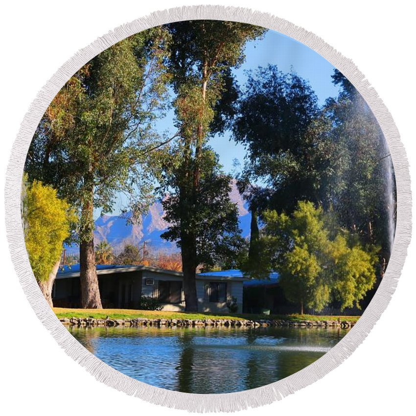 Fountains Round Beach Towel featuring the photograph Fountains 2 by Kathryn Meyer