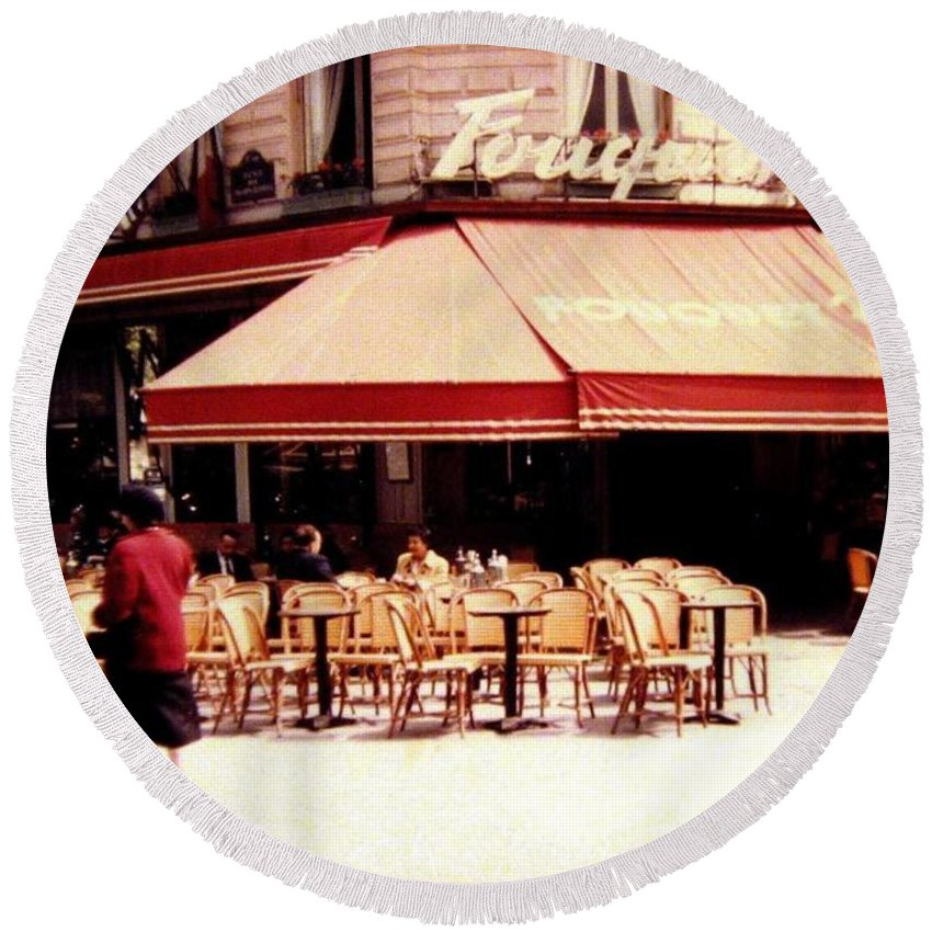 1955 Round Beach Towel featuring the photograph Fouquets Of Paris 1955 by Will Borden