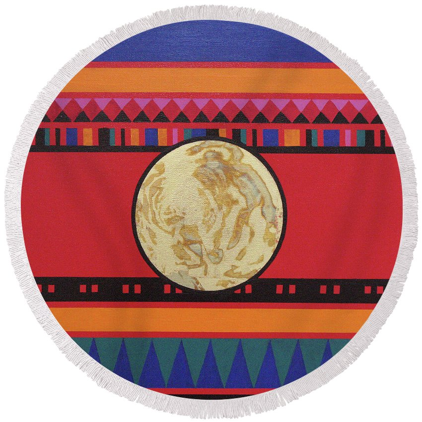 Abstract Round Beach Towel featuring the painting Four Corners - Seminole by Elaine Booth-Kallweit