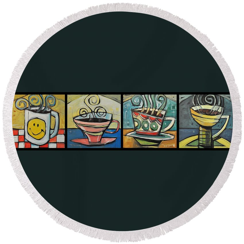 Coffee Round Beach Towel featuring the painting Four Cups Of Java by Tim Nyberg
