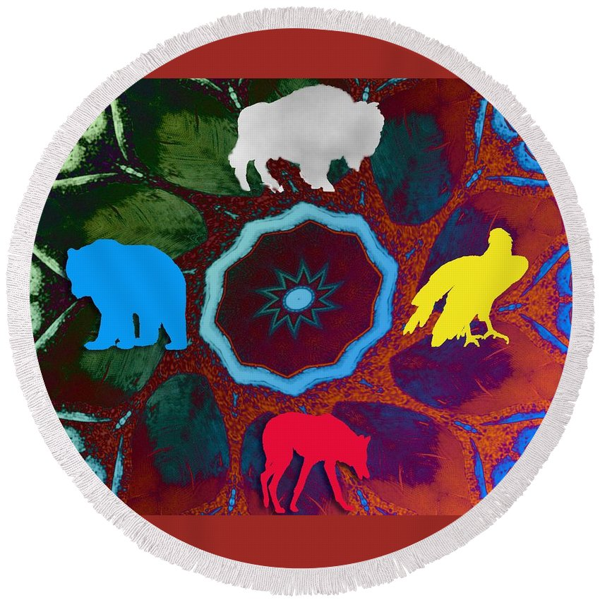 Wildlife Round Beach Towel featuring the digital art Four Directions  -009 by Will Logan