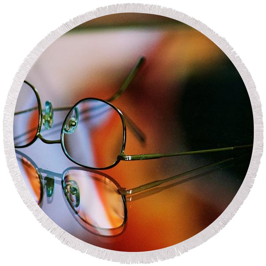 Glasses Round Beach Towel featuring the photograph Four Eyes by Eric Tressler