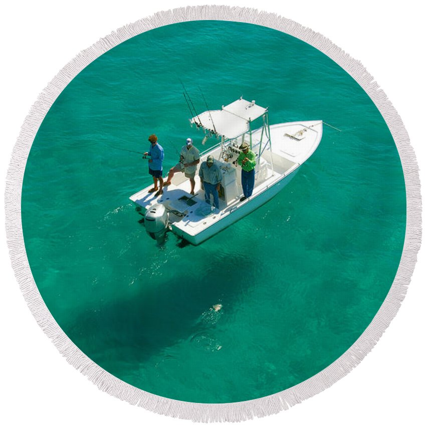Fishing Round Beach Towel featuring the photograph Four Fishermen by David Lee Thompson