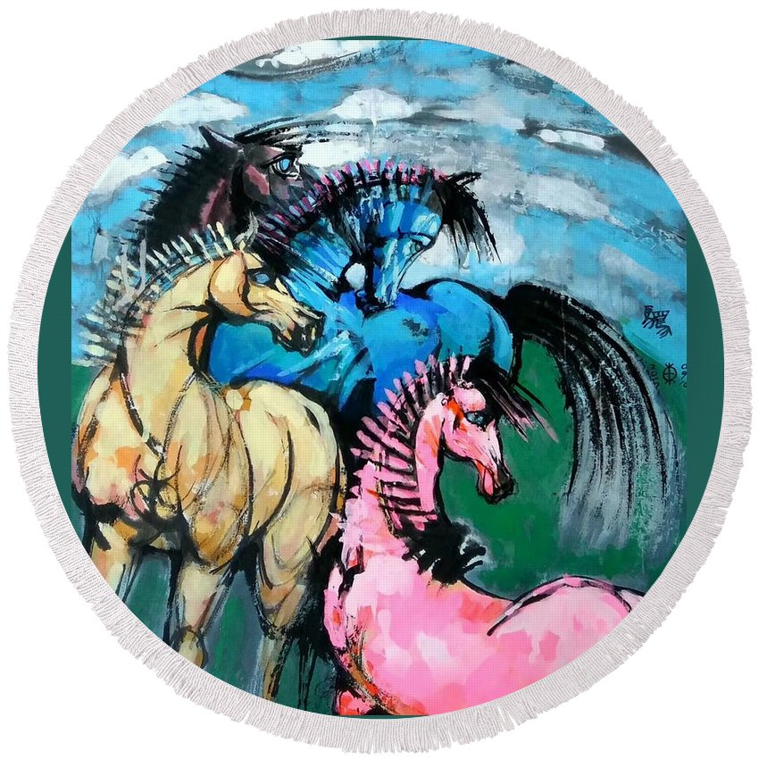 Horses Round Beach Towel featuring the painting Four Horses by Weidong Wang
