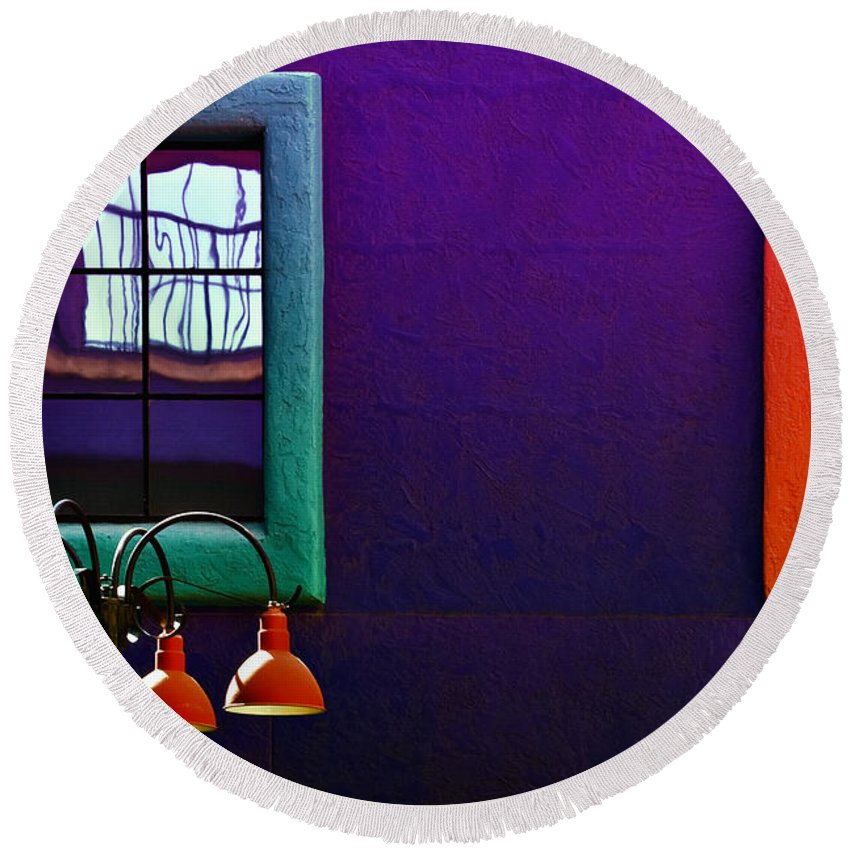 Architecture Round Beach Towel featuring the photograph Four Lamps by Maria Coulson