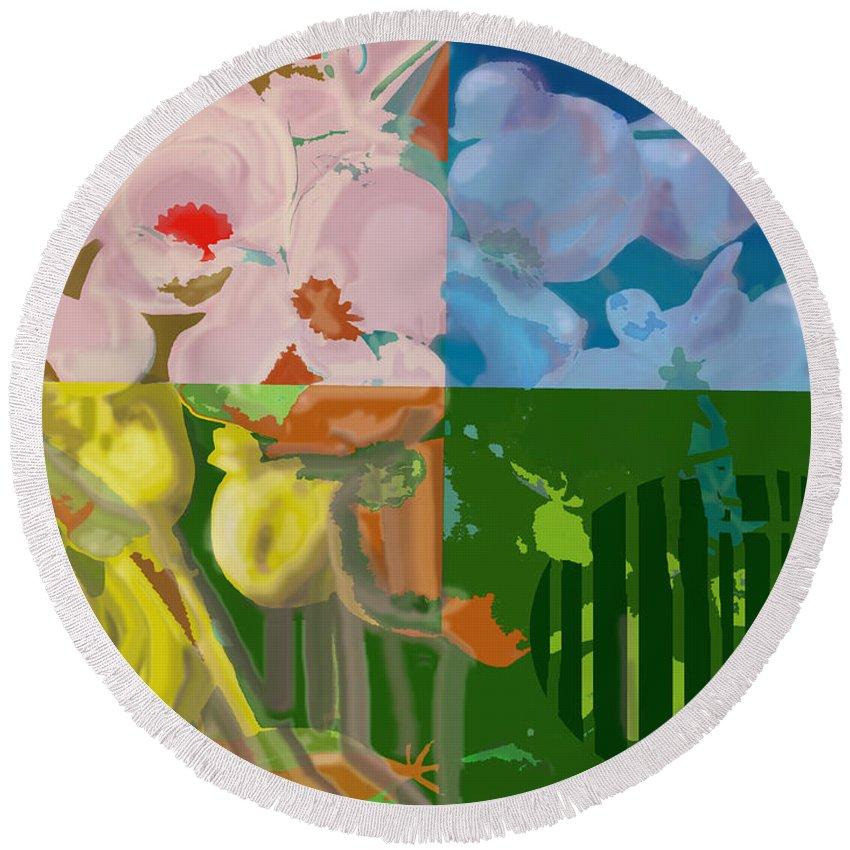 Four Round Beach Towel featuring the digital art Four Seasons by Ian MacDonald