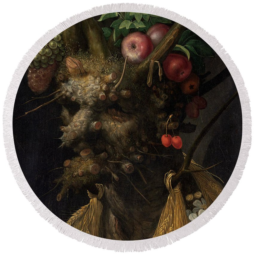 Giuseppe Arcimboldo Round Beach Towel featuring the painting Four Seasons In One Head by Giuseppe Arcimboldo