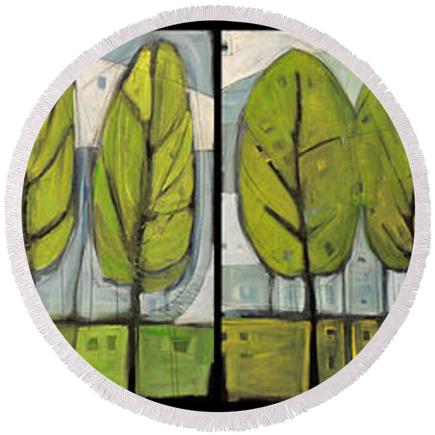 Trees Round Beach Towel featuring the painting Four Seasons Tree Series by Tim Nyberg