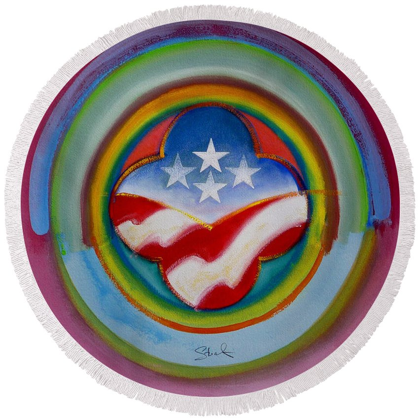 Button Round Beach Towel featuring the painting Four Star Button by Charles Stuart