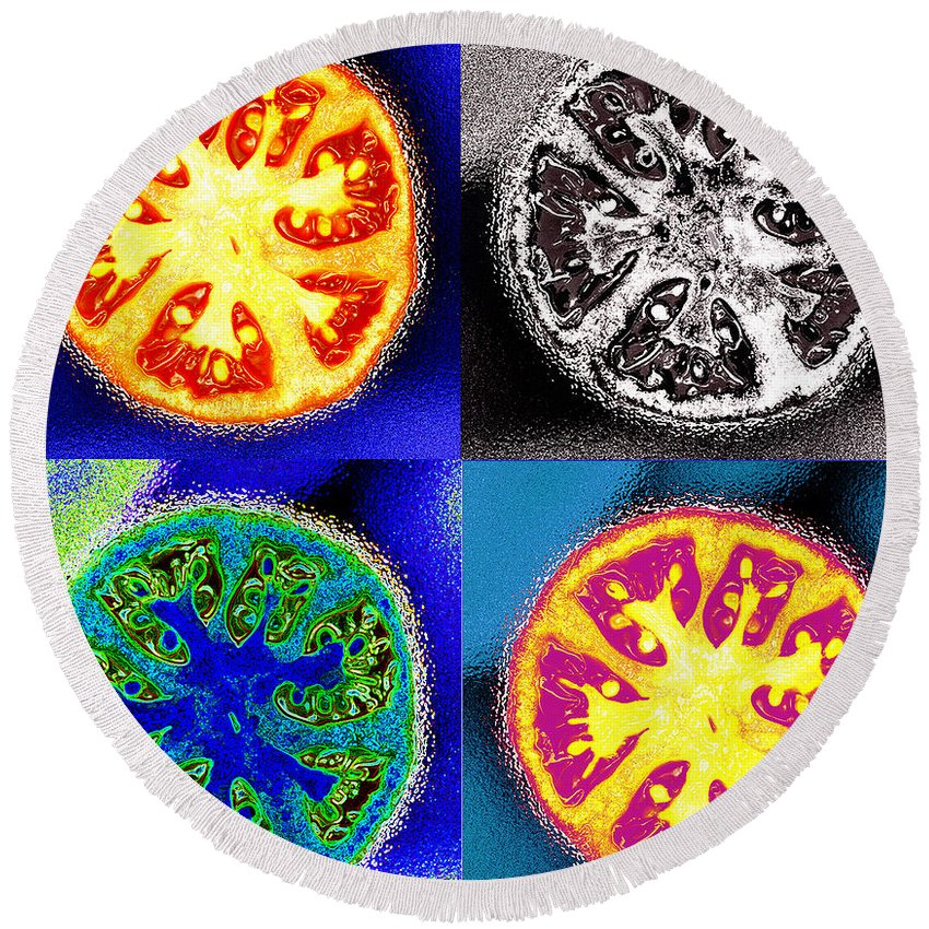 Tomatoes Round Beach Towel featuring the photograph Four Tomatoes by Nancy Mueller
