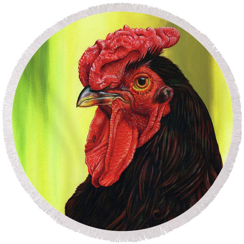 Rhode Round Beach Towel featuring the painting Fowl Emperor by Cara Bevan