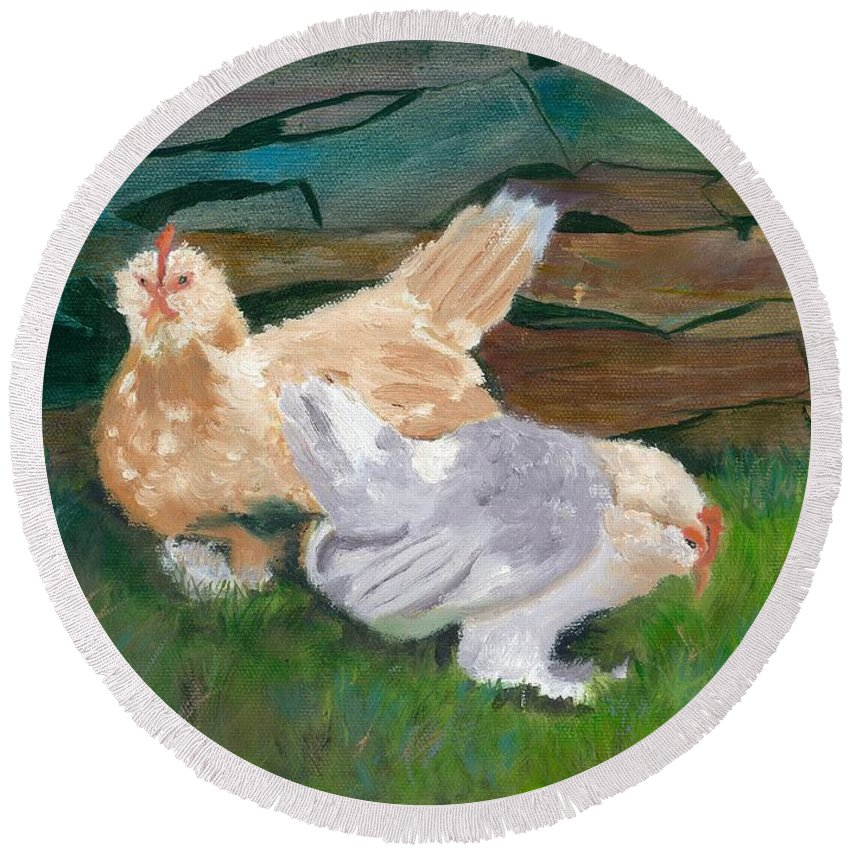 Chickens Bantams Countryside Stonewall Farm Round Beach Towel featuring the painting Fowl Play by Paula Emery