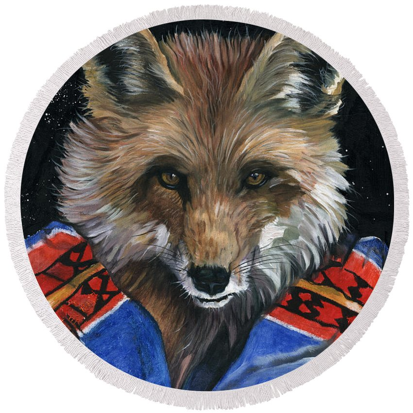 Fox Round Beach Towel featuring the painting Fox Medicine by J W Baker
