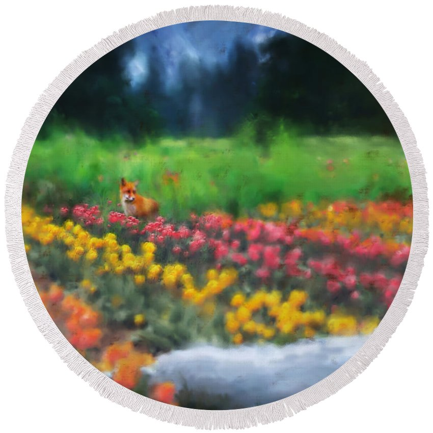 Fox Round Beach Towel featuring the digital art Fox Watching The Tulips by Stephen Lucas