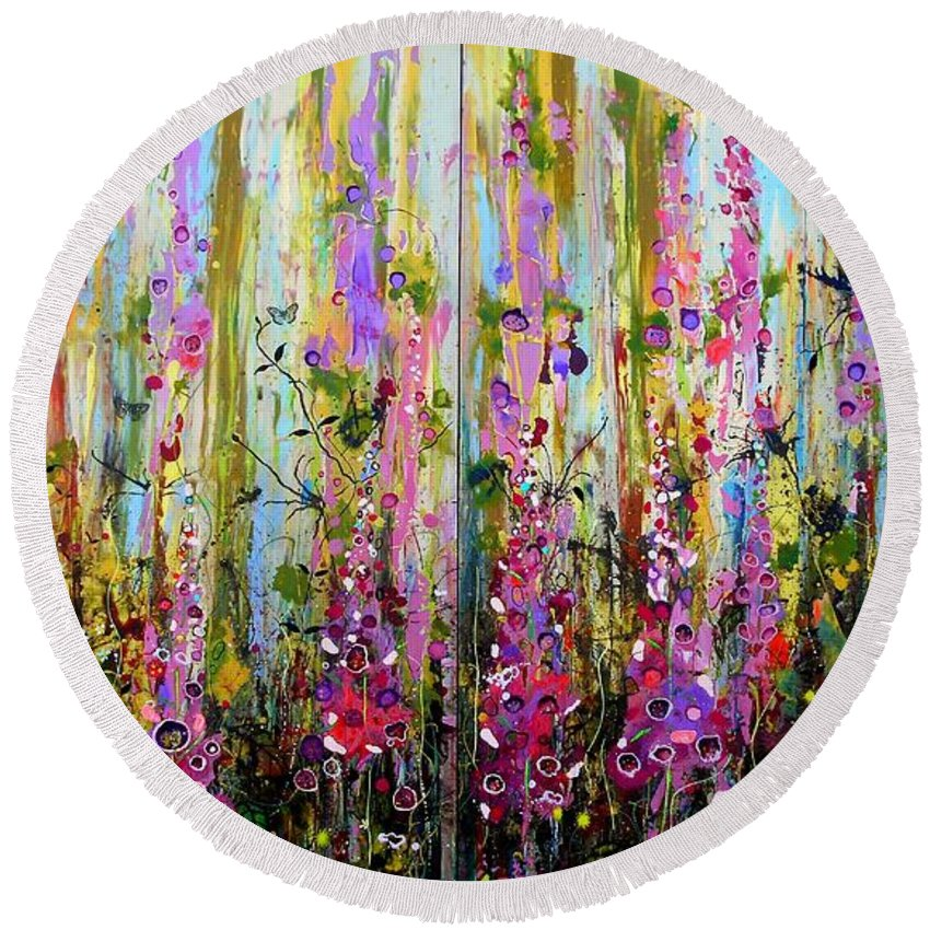 Foxgloves Round Beach Towel featuring the painting Foxgloves Large Painting by Angie Wright