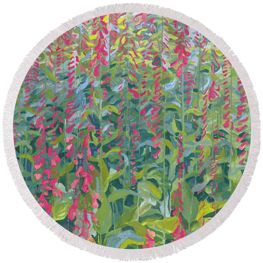 Foxgloves Round Beach Towel featuring the painting Foxgloves by Leigh Glover