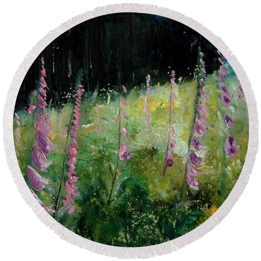Flowers Round Beach Towel featuring the painting Foxgloves by Pol Ledent