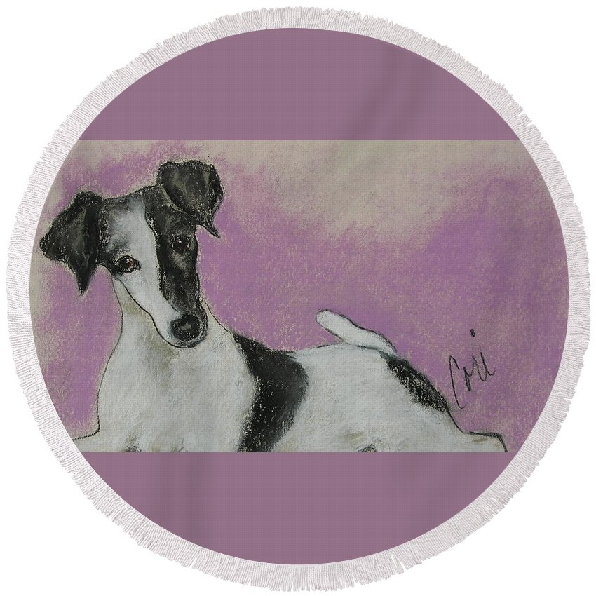 Dog Round Beach Towel featuring the drawing Foxy by Cori Solomon