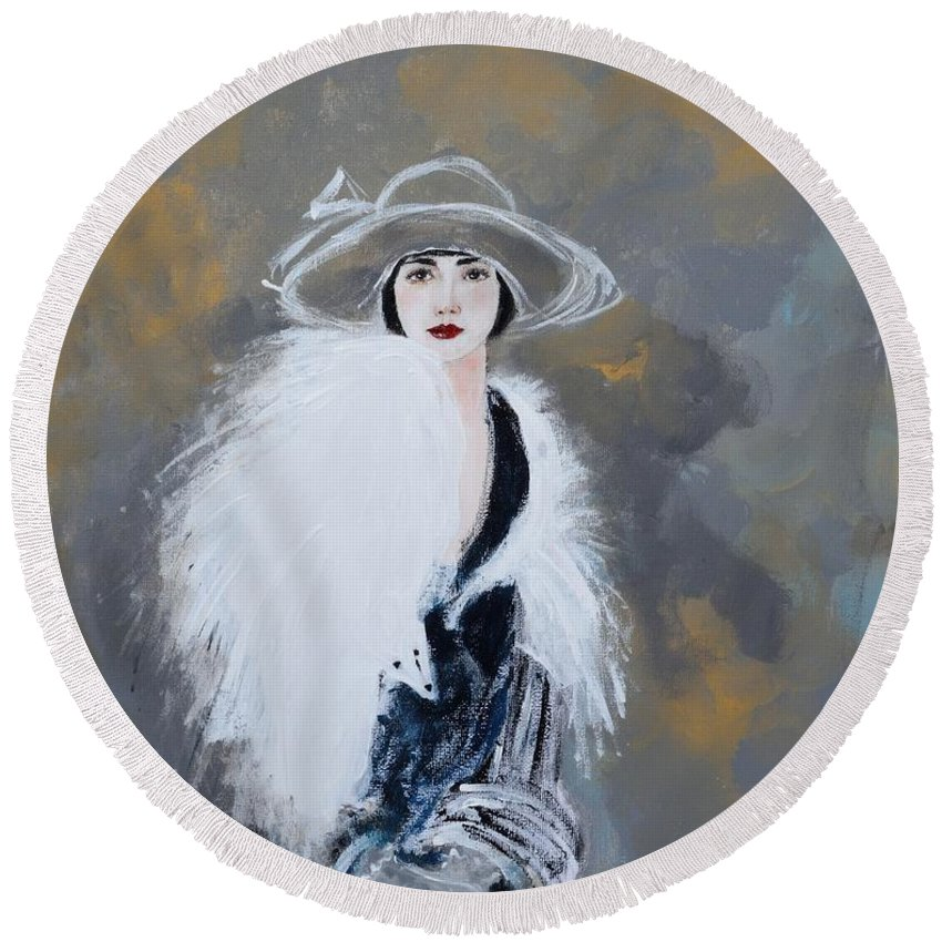 Lady With White Fur Round Beach Towel featuring the painting Foxy Lady by Susan Adams