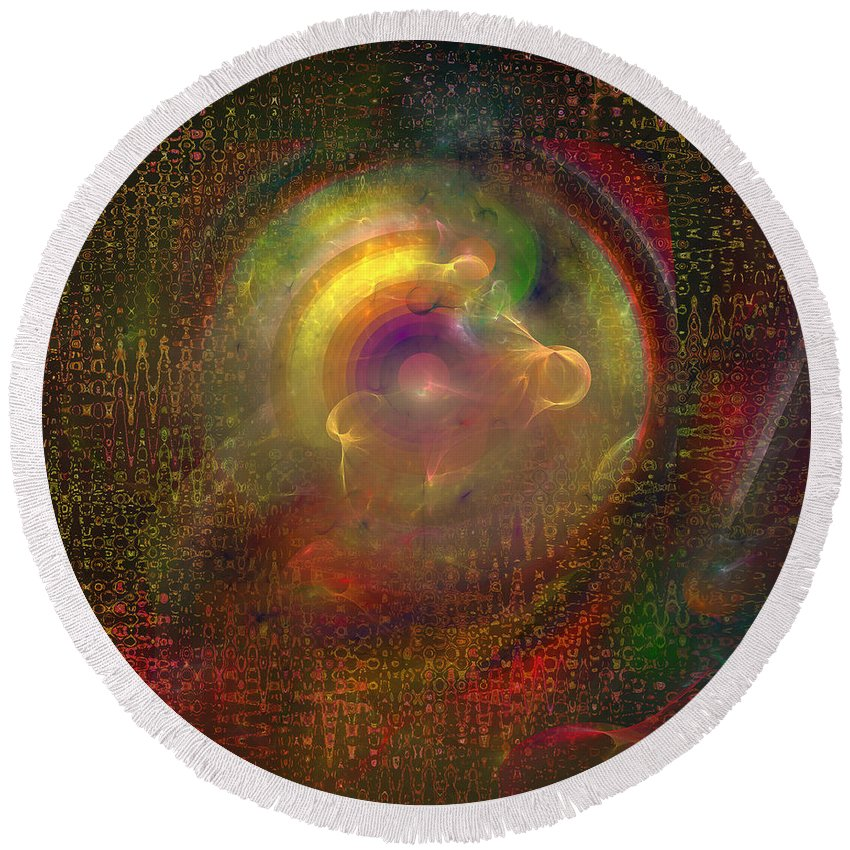 Abstract Round Beach Towel featuring the digital art Fractal Abstraction by Diane Parnell