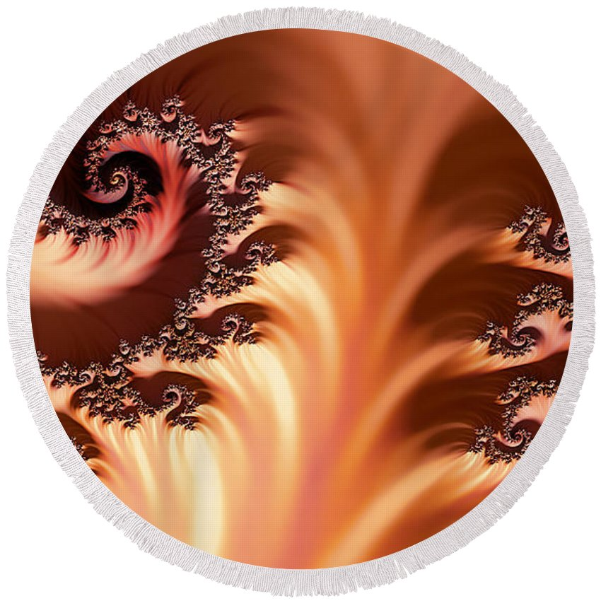 Clay Round Beach Towel featuring the digital art Fractal Desert by Clayton Bruster