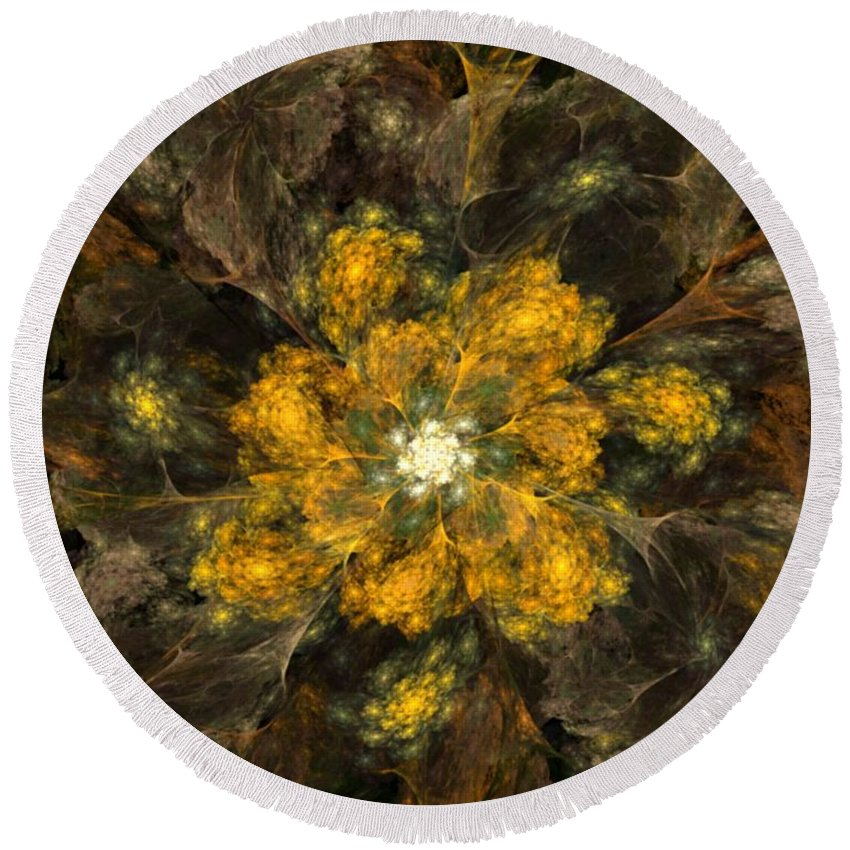 Digital Painting Round Beach Towel featuring the digital art Fractal Floral 02-12-10 by David Lane