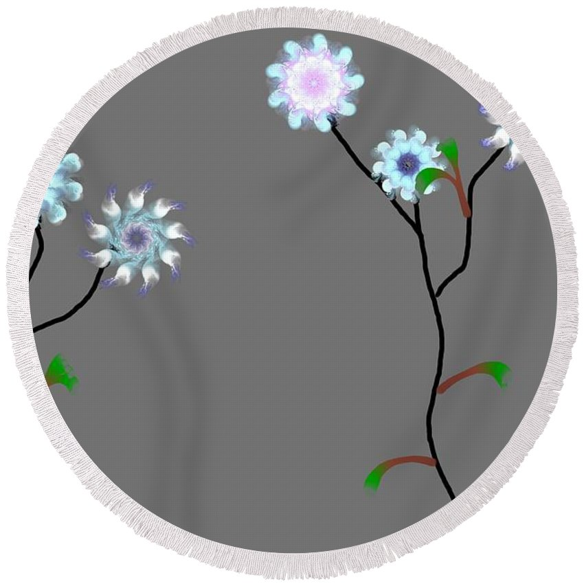 Digital Painting Round Beach Towel featuring the digital art Fractal Floral 10-21-09 by David Lane