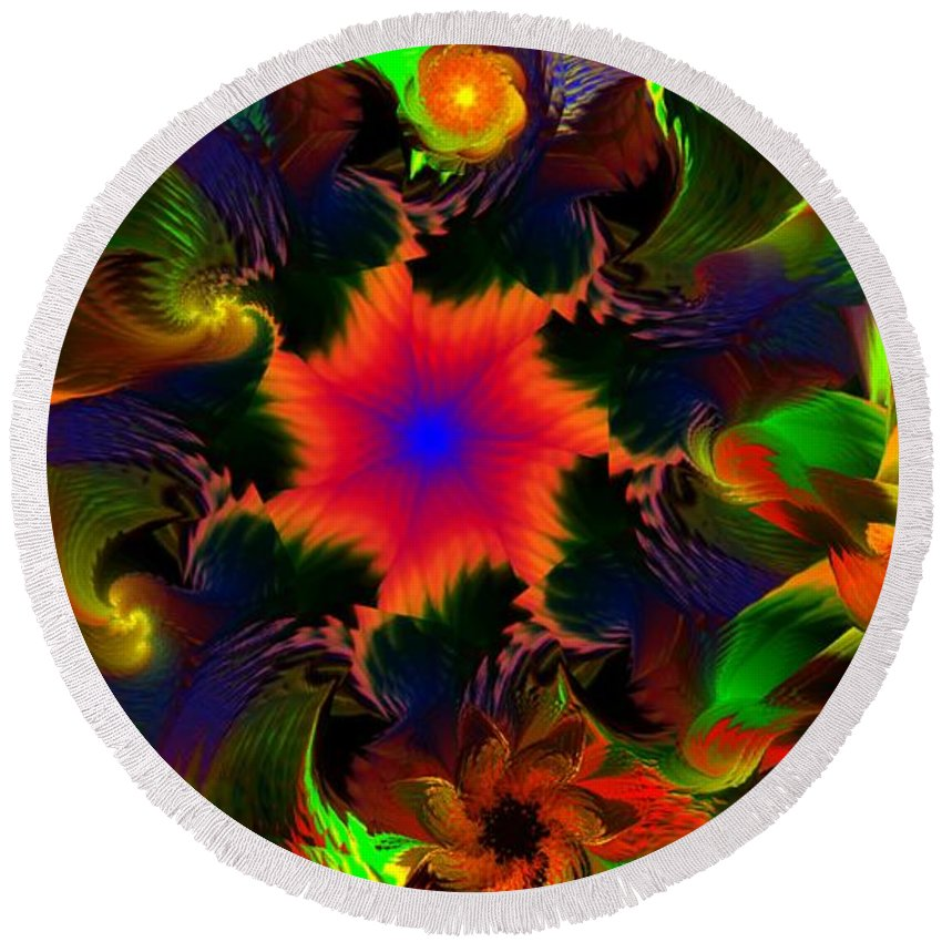 Abstract Digital Painting Round Beach Towel featuring the digital art Fractal Garden 15 by David Lane
