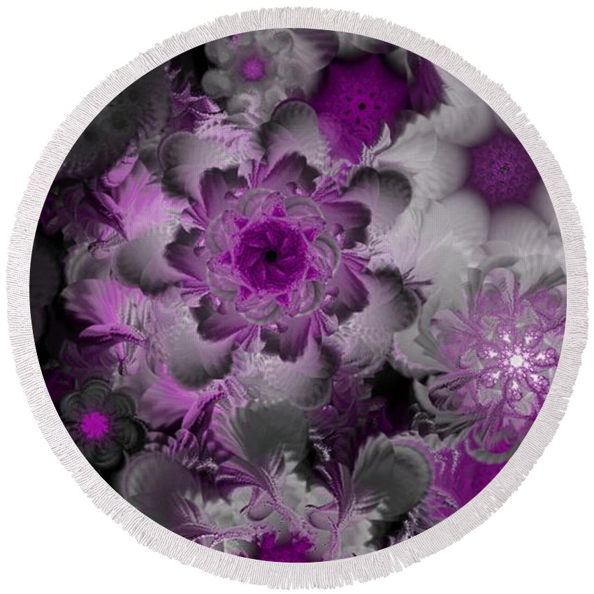 Abstract Digital Painting Round Beach Towel featuring the digital art Fractal Garden 4 by David Lane
