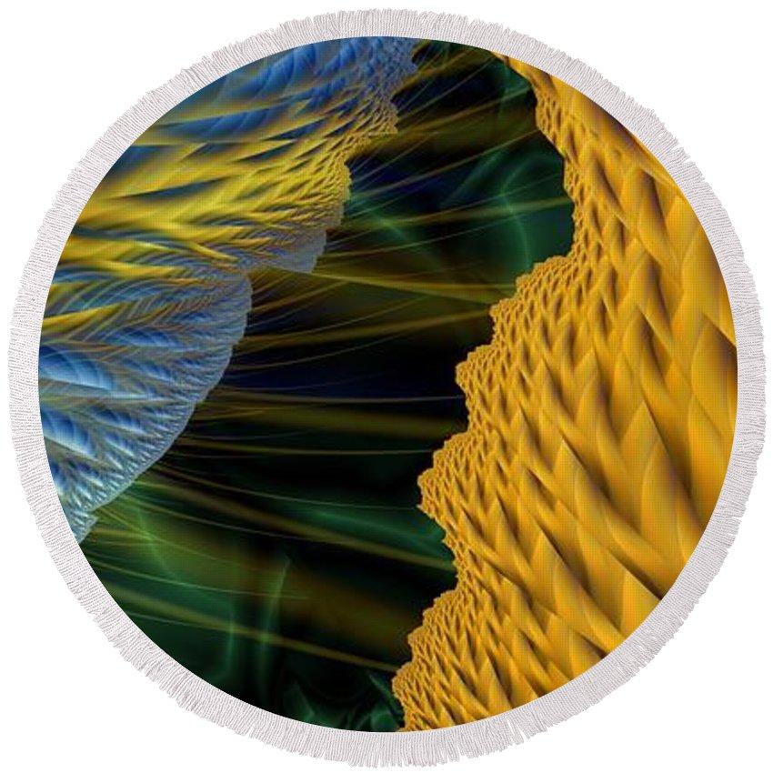 Lightning Round Beach Towel featuring the digital art Fractal Storm by Ron Bissett