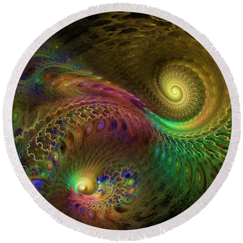 Fractal Round Beach Towel featuring the digital art Fractal Swirls by GJ Blackman