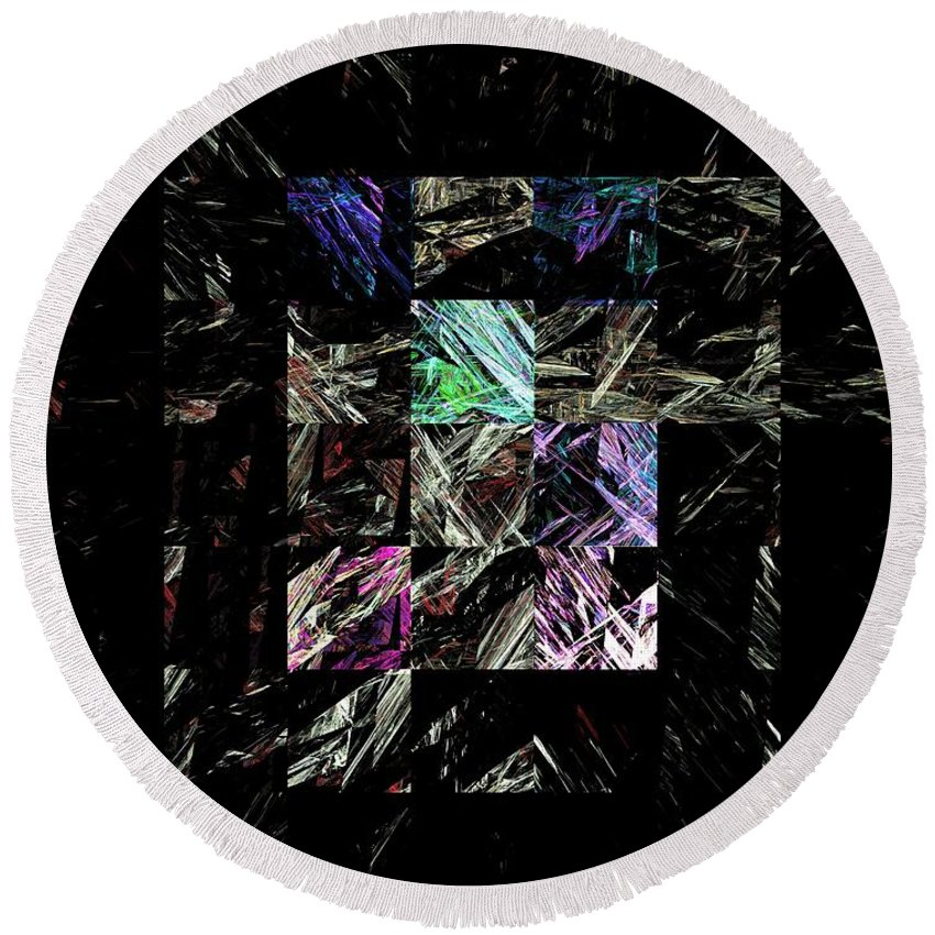 Abstract Digital Painting Round Beach Towel featuring the digital art Fractured Fractals by David Lane