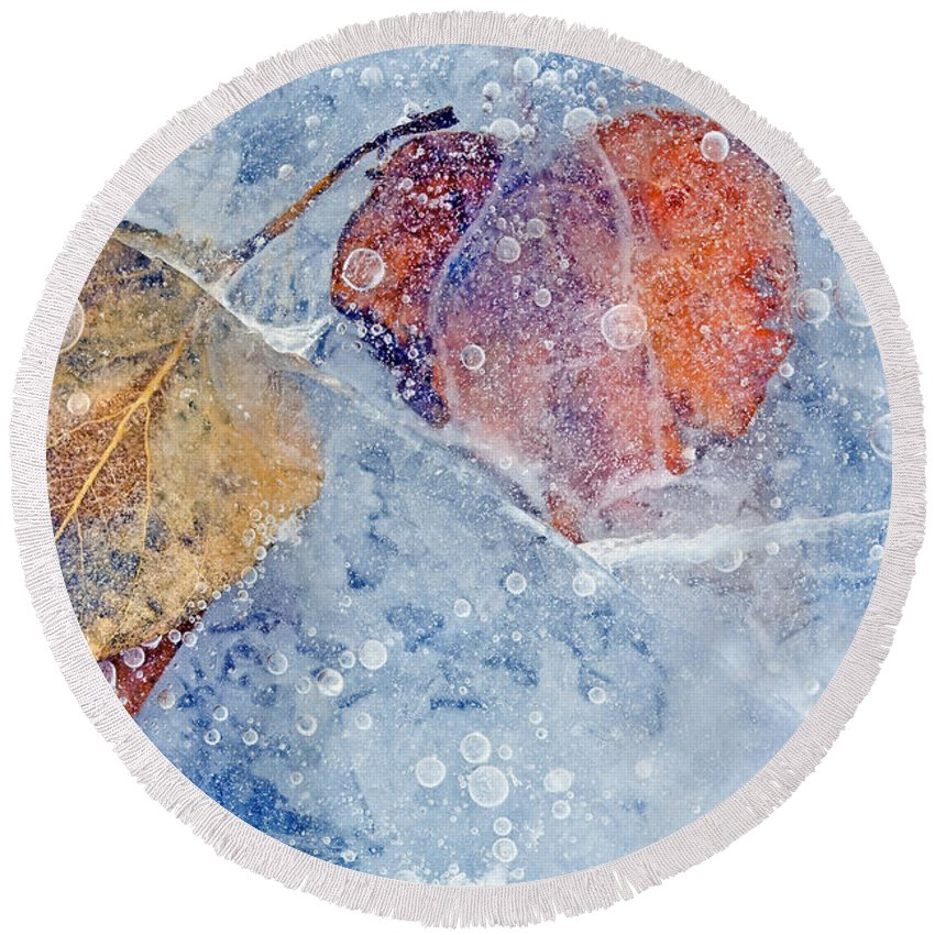 Ice Round Beach Towel featuring the photograph Fractured Seasons by Mike Dawson