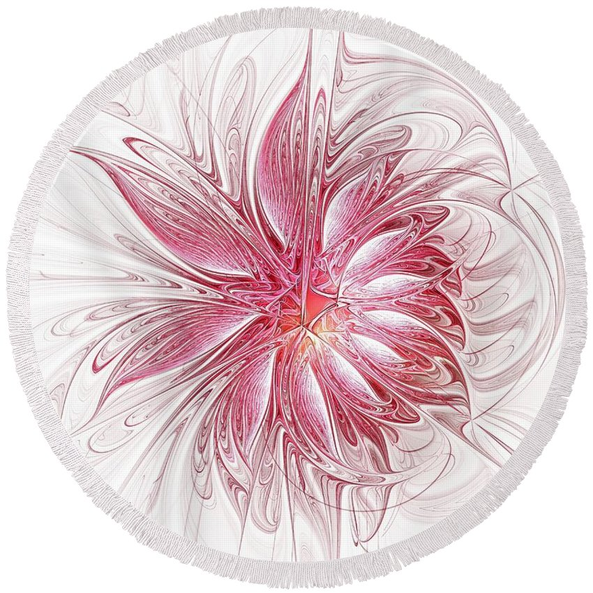 Digital Art Round Beach Towel featuring the digital art Fragile by Amanda Moore