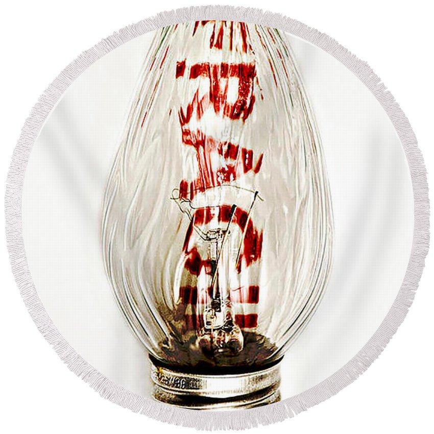 Lightbulb Round Beach Towel featuring the photograph Fragile Light Bulb by Kathleen K Parker