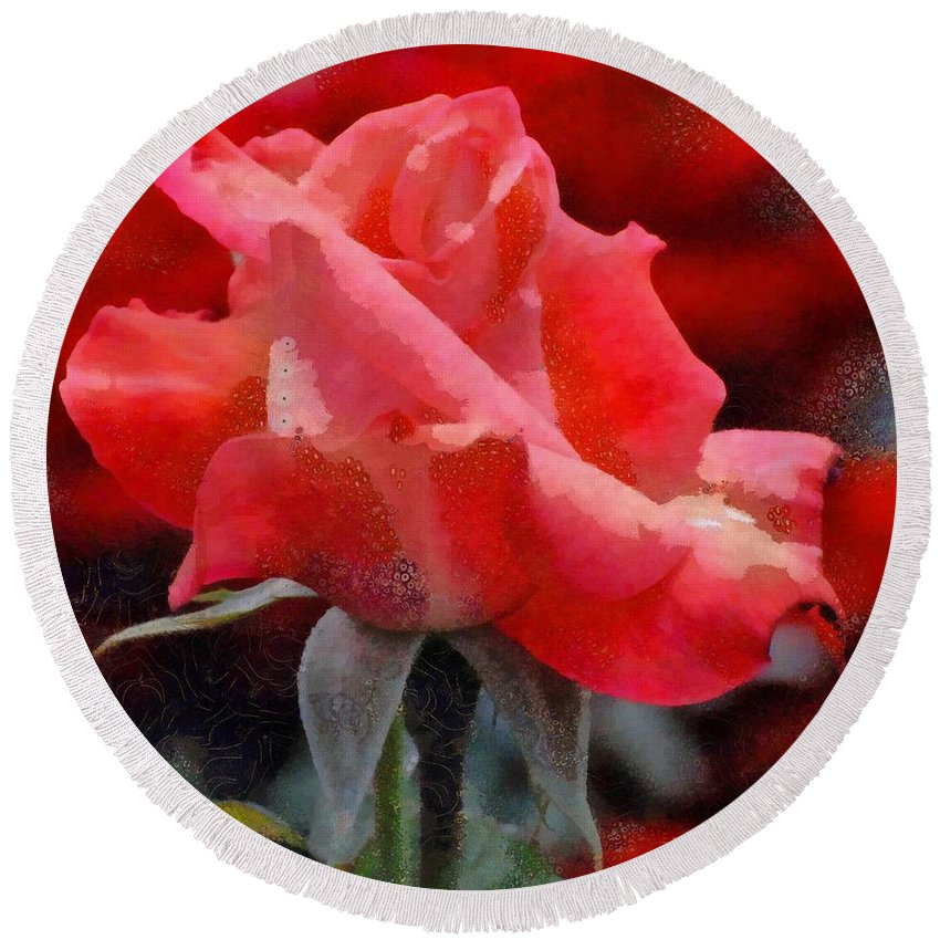 Fragmented Pink Rose Round Beach Towel featuring the digital art Fragmented Pink Rose by Catherine Lott