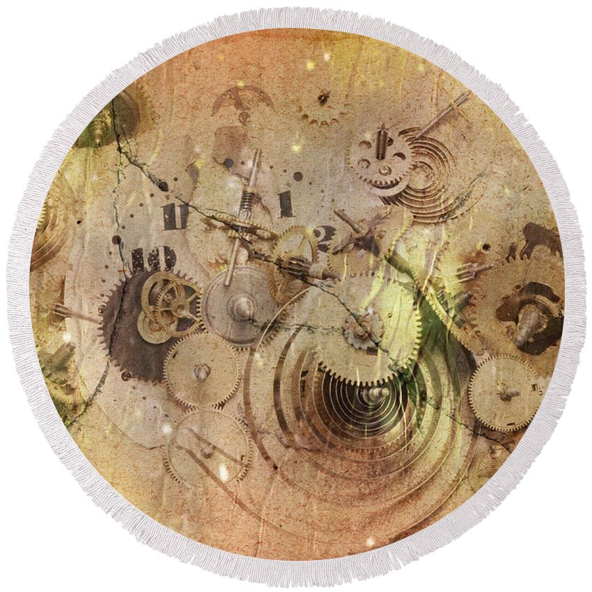 Grunge Round Beach Towel featuring the digital art Fragmented Time by Michal Boubin