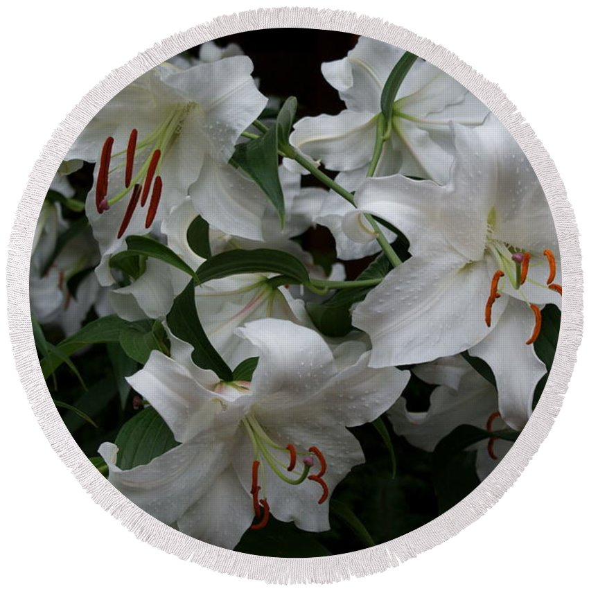 White Lilies Floral Round Beach Towel featuring the photograph Fragrant Beauties by Joanne Smoley